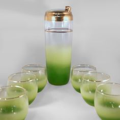 Vintage Cocktail Shaker Set | blendo chartreuse green cocktail shaker set shaker 10 high roly