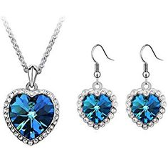 Titanic Heart of the Ocean Blue Cubic Zirconia Stud Earrings Fashion Jewelry for Women