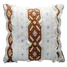 Nate Berkus Decorative Embroidered Pillow White Rust