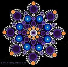 Purple, Blue, and Orange Mandala Dot Art Painting, Mandala Painting, Painting Patterns, Stone Painting, Mandala Canvas, Mandala Art, Mandala Pattern, Mandala Design, Mandala Rocks