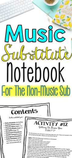 These are no tech elementary music sub plans that can be used with non-musical substitutes. It includes a full sub notebook plus coloring pages and 13 music activities for your sub to mix and match to their liking.