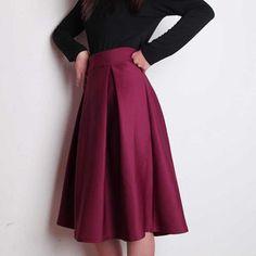 Plus Size Autumn Winter Flared Skirt  Pleated Midi Skirt Retro Style Ladies High Waist Elegant Vintage Skirts Femininas Saias