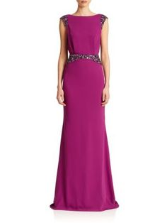 Pamella, Pamella Rolland - Crepe Draped-Back Gown