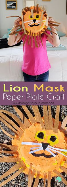 Need a fun kids craft? Check out this lion mask paper plate. This tutorial on how to make a paper plate lion mask is simple and fun for a rainy day kids activity. #kidscrafts
