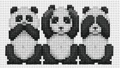The 3 Wise Pandas X-stitch pattern Cross Stitch Bookmarks, Cross Stitch Cards, Cross Stitch Animals, Cross Stitching, Cross Stitch Embroidery, Cross Stitch Designs, Cross Stitch Patterns, Pull Chat, Panda Craft