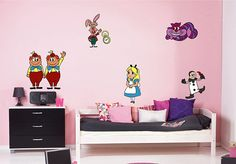 kcik1540 Full Color Wall decal set Alice in Wonderland characters heroes bedroom children's room