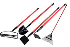 Garden All Garden Tools Kit – Include Round Point Shovel & Guage Garden Hoe & Bow Rake & Steel Rake & Gden Cultivator with Fiberglass Handle – Five Pieces – Super Special Offers – Marks Market