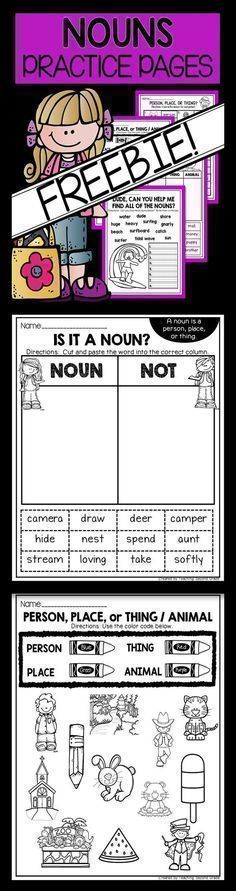 FREE Noun Practice Pages - Use this 18 page freebie with your or grade classroom or home school students. Everything focuses on different types of nouns - person, place, thing, or animal. These printable worksheets are great for ELA, reading Reading Comprehension Activities, Literacy Activities, Teaching Resources, Teaching Ideas, Literacy Skills, Teaching Grammar, Grammar Skills, Literacy Centers, Teaching Reading