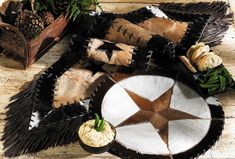 Cowhide Star Table Runner