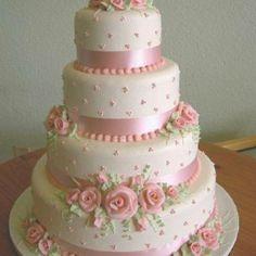 Pretty in pink wedding cake Elegant Wedding Cakes, Elegant Cakes, Beautiful Wedding Cakes, Gorgeous Cakes, Pretty Cakes, Amazing Cakes, Fondant Cakes, Cupcake Cakes, 16 Cake