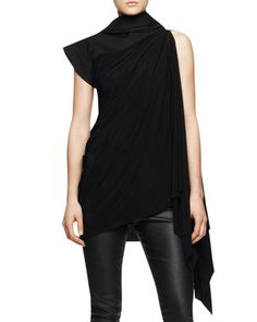 Sleeveless Long Tunic Toga with Hood, Black by Rick Owens at Bergdorf Goodman.