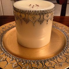 Henna style large candle and charger plate in acrylic silver and gold paint.  By Henna on Hudson