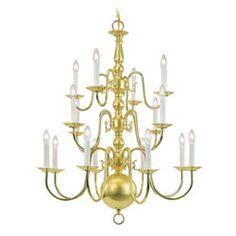 Williamsburg Sixteen-Light Polished Brass Chandelier