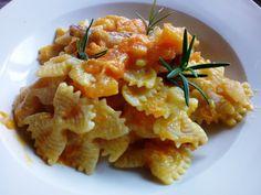 Pasta con calabaza y panceta - Pasta mariposas con calabaza y panceta - Farfalle con zucca e pancetta - Pumpkin and bacon pasta
