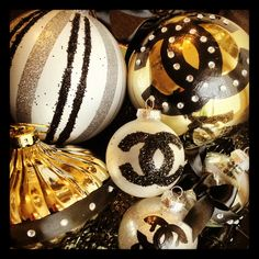 DIY Chanel inspired ornaments by Prim & Proper Event Styling Co. (primandproperevents.com)  These will be up for sale mid 2013!