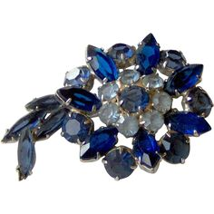Pretty Blue Rhinestone brooch. Vintage Jewelry Under $25  www.rubylane.com @Ruby Lane