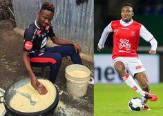 Arsenal FC Player, Kelechi Nwakali Shares Photo Of Himself Frying Garri In His Village