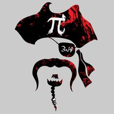 Funny Irrational Pi-rate shirt design by Mudge Studios at Mudge's Neatoshop. Free Shipping 'til Feb 9th:)