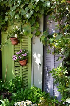 A French garden in Provence! Decorate Your Garden with Shutters This Weekend! See thefrenchinspiredroom.com
