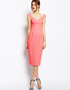 I wish I had an excuse to wear something like this.  --ASOS Texured Bardot Pencil Dress