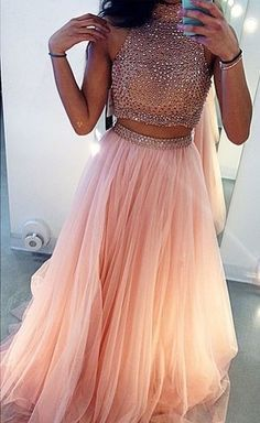 2 Pieces High Neck Long Cheap Tulle Pink Long Prom Dress http://bonbetebridal.storenvy.com/