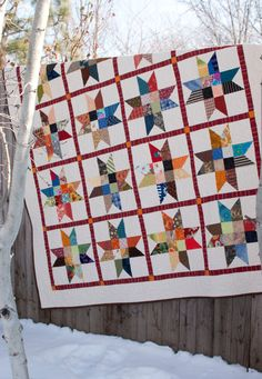 Lucky Charm Stars Lap Quilt. Pattern by Quilt Expressions.