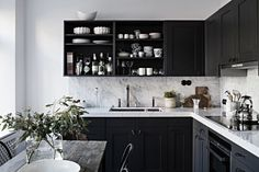 6 Black And White Kitchen Interior Design Ideas White Kitchen Interior, Interior Design Kitchen, Kitchen Designs, Interior Modern, Black Kitchens, Home Kitchens, New Kitchen, Kitchen Decor, Kitchen Ideas