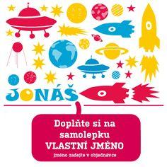 Samolepky do dětského pokoje - Proxi rakety, létající talíř, družice, planety, hvězdy. Možnost doplnit jméno jako samolepka. celý arch, možnost změnit barvy. Samolepky pro vesmírné fantasty.