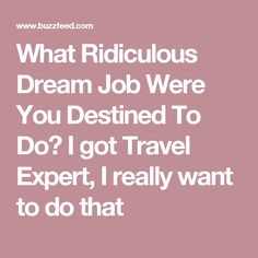 What Ridiculous Dream Job Were You Destined To Do? I got Travel Expert, I really want to do that
