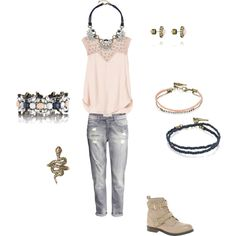 """Girls day out!"" by suzie-brewer-key on Polyvore.  Boyfriend jeans and cute pink top with booties is the perfect outfit for a day (and night) out with your bffs!  And with Chloe and Isabel jewelry, you'll be the envy of everyone! www.chloeandisabel.com/boutique/suziekey"