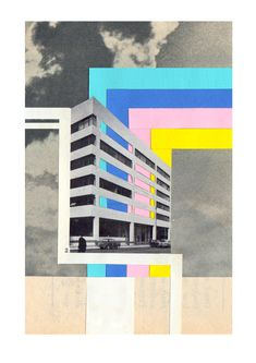 """mango-popsicle:  UK: COLLAGE: SOPHIELIZA Artist statement: """"My work is kind of like a jigsaw puzzle, but one that you get without the image on the box. My influences are: grid like structures, the work of Julian House, tower blocks, Le Corbusier, Bauhaus, brutalist architecture and lots of musical inspirations (too many to mention!)."""""""