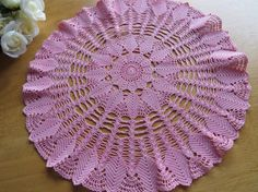 Vintage PINK CROCHETED DOILY Round Pink by CreativeWorkStudios