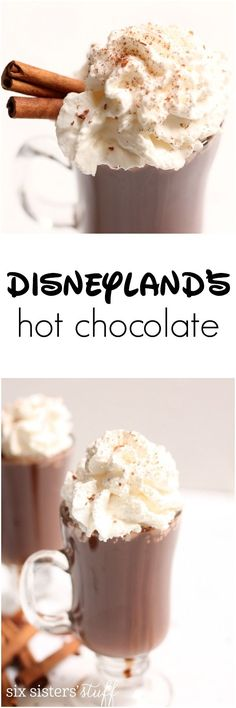 Disneyland's Hot Chocolate Recipe Even though it doesn't get too cold at the Disneyland Parks in the winter, it's cold enough that you'll want a jacket…and some of their AMAZING Hot Chocolate from the Napa Rose Restaurant in the Grand Californian hotel. Yummy Drinks, Delicious Desserts, Dessert Recipes, Yummy Food, Drink Recipes, Tasty, Baking Desserts, Dessert Food, Fun Drinks