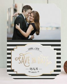 Foil striped save the dates