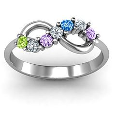 """The ring I want...eventually! To include my children and grandchildren! What the heck, I think it'll be fine to get it now, fill it with the known birthstones and put in clear stones as """"placeholders"""" to be filled as time goes on! Looks like you could fill it with 13 total if you needed."""