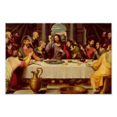 The Last Supper by Juan de Juanes (mid 1500's- the style was adopted by Spanish painters who were influenced by Raphael) housed at the Prado Museum in Madrid, Spain, Art Prints, Poster Designs