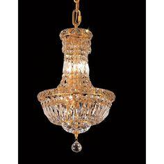 Elegant Lighting Gold 12-inch Royal-cut Crystal Hanging 6-light Chandelier