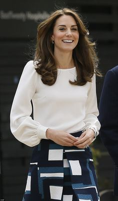 William, Kate and Harry launch their most ambitious project ever Kate's Binky blouse by Goat, is slim fitting with a round neck and full sleeves that gather into the cuffs with silk covered buttons Kate Und William, Prince William, Hijab Fashion, Fashion Dresses, Kate And Harry, Kate Middleton Style, Mode Hijab, Duchess Kate, Cambridge
