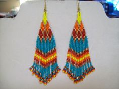 Native American Beaded Turquoise, Red, Orange, Yellow and Copper Earrings Southwestern, Hippie, Boho