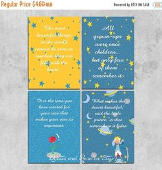 This listing is for a printable 3.5 x 4.88 The little prince inspired cards. These are wonderful quotes which you can enjoy and give them as a