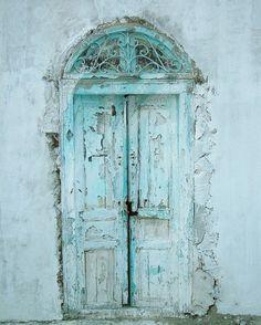 aqua turquoise old doors