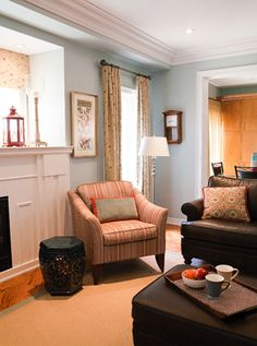 Family room decor. Like the style & positioning of chair