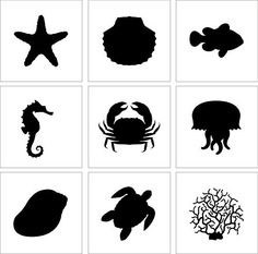SET OF 9 Stencil Cake Decoration Airbrush Tattoos Pattern SEA Animals Fish | eBay