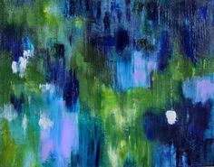 Abstract Painting Indigo and Green, Bliss II Reflection on Water 11 x 14 via Etsy