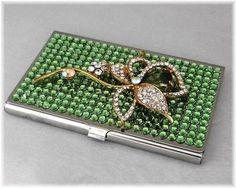 Swarovski Rhinestone Business Card Holder Case, Metal Credit Card Holder, Business Card Case, Genuine Swarovski Flower Accent~Peridot Green