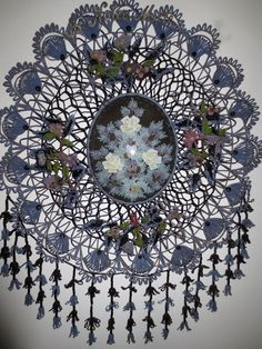 Ant. French 19thc.Beaded Mourning Wreath:Beaded & Silk Flowers, Domed Glass &Box