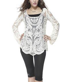 Love this White Floral Crochet Scoop Neck Top on #zulily! #zulilyfinds