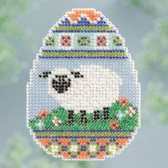 "Sheep Egg (2013); Mill Hill; Seasonal Ornament   ALL BEADED; Spring Bouquet Collection; Beads, treasures, 14ct perforated paper, floss, speciality threads, needles, chart, magnet and instructions.   6 designs in display MH183100 ; 2.6"" x 2.8"""