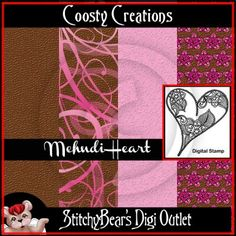 Mehndi Heart Digital Stamp and Paper Pack