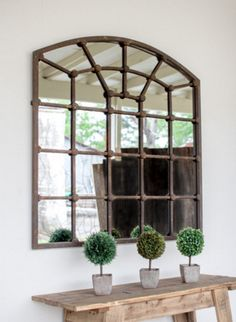 Arched Iron Mirror Big in size and long on good looks. This piece is not just a mirror but a complete decoration too. The iron frame divides the mirror into pan Arched Window Mirror, Entryway Mirror, Entryway Furniture, Arched Windows, Dining Room Mirrors, Arched Wall Decor, Mirror Wall Decorations, Industrial Furniture, Rustic Furniture